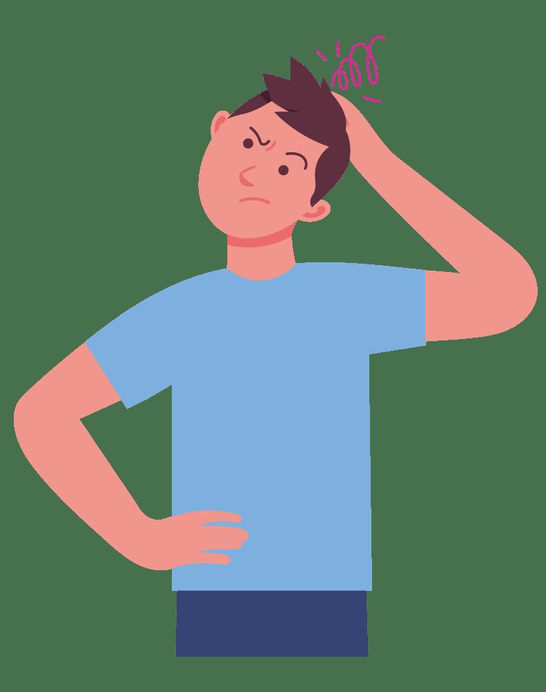 Man scratching head