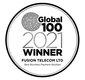 Global-100 2021 award logo Fusion Telecom Ltd Best Business Payment Solution